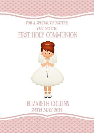 Personalised Red Hair Girl Communion Card 1
