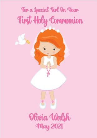 Personalised Red Hair Girl Communion Card 2
