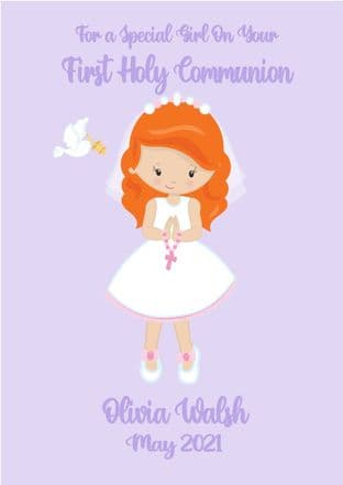 Personalised Red Hair Girl Communion Card 3
