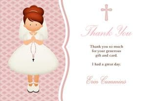 Personalised Red Hair Girl Communion Thank You Card