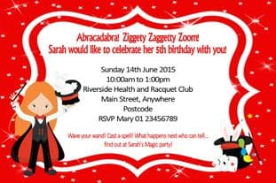 Personalised Red Hair Girl Magician Invitations
