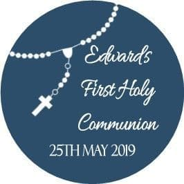 Personalised Rosary Beads Blue Communion Cake Topper