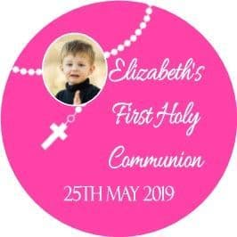 Personalised Rosary Beads with photo Pink Communion Cake Topper