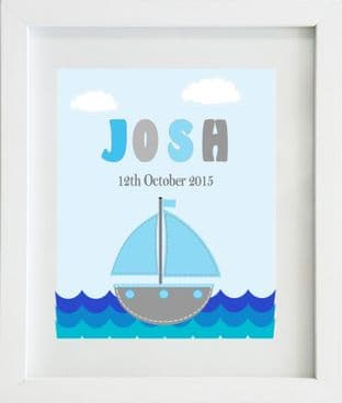 Personalised Sail Boat Blue Grey Name Print