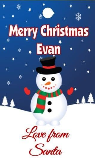 Personalised Snowman Christmas Gift Tags