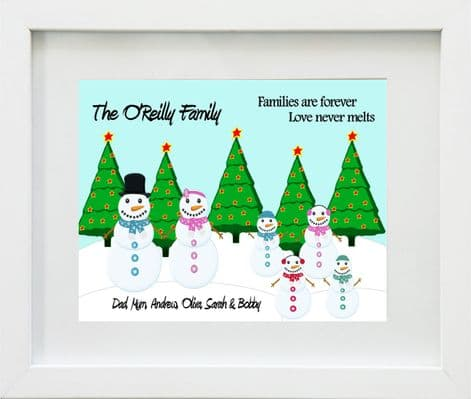 Personalised Snowman Family Christmas Print