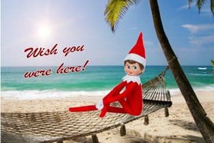 Personalised Summer Holidays Postcard from your family Elf - ONE ELF