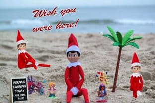 Personalised Summer Holidays Postcard from your family Elf - THREE ELVES