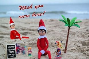 Personalised Summer Holidays Postcard from your family Elf - TWO ELVES