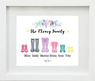 Personalised Wellies Family Print