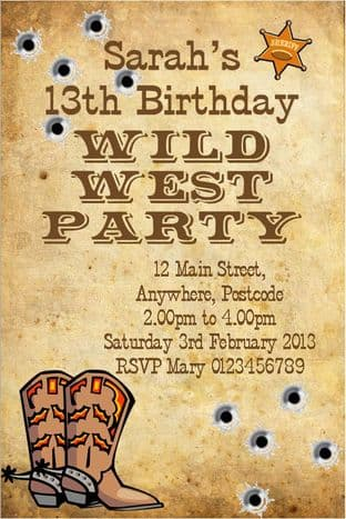 Personalised Wild West / Cowboy Theme Invitations