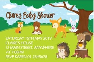 Personalised Woodland Baby Animals Baby Shower Invitations