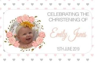 Pink Floral Border Photo Christening Chocolate Candy Bar Wrapper