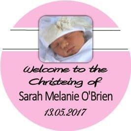 Pink Photo Christening cupcake topper