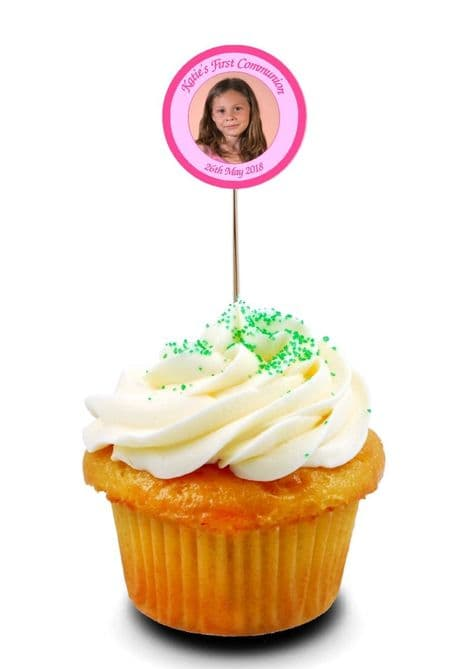 Pink Photo Communion Cupcake Picks/Toppers