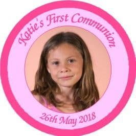 Pink Photo Communion Sticker