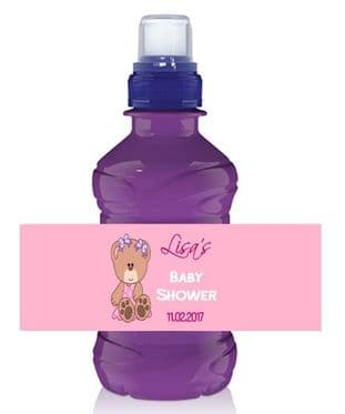 Pink Teddy Baby Shower Bottle Wrapper