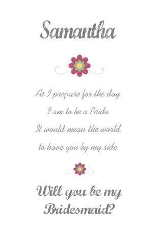 Will you be my Bridesmaid Card Design 1