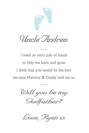 Will you be my Godfather / Godmother card Design 2