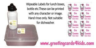Wipeable Labels for lunchboxes, water bottles etc.