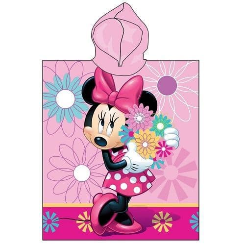 Disney Minnie Mouse Flowers Hooded Poncho Towel