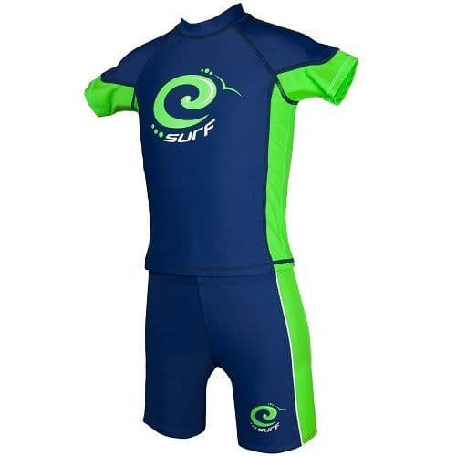 Estate Blue & Jasmine Green Surf UV Sun Protection Rash Vest and Swim Trunks UPF 50+