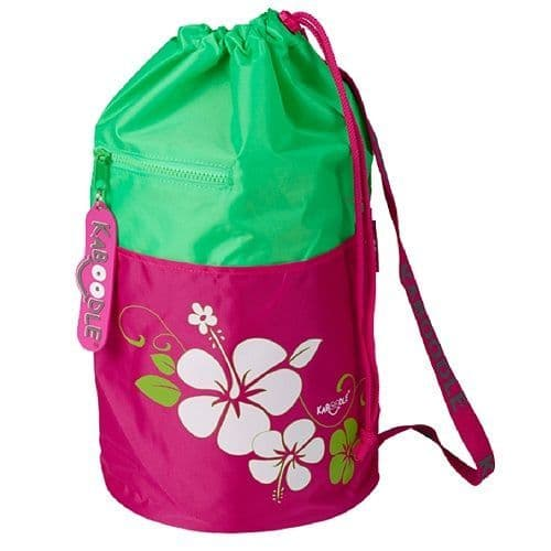 Kaboodle Hibiscus Flowers Swim and Sports Bag - Lime and Pink