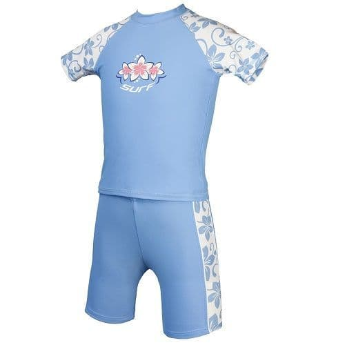 Placid Blue UV Sun Protection Rash Vest and Swim Shorts UPF 50+