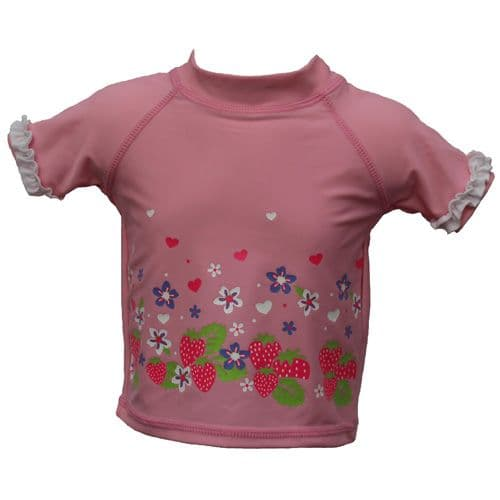 Baby Girls Pink UV Sun Protection Swim Top T-Shirt UPF 50+