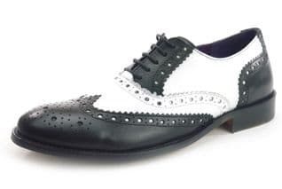 Frank James Redford Mens Leather Lace Up Wingtip Formal Gatsby Evening Brogue Shoes