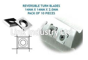 10 pces. 14 x 14 x 2.0mm CARBIDE REVERSIBLE TURN BLADES, REVERSIBLE TIP KNIVES