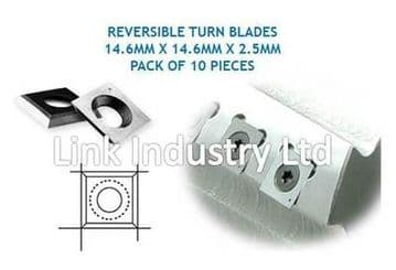 10 pces. 14.6 x 14.6 x 2.5mm CARBIDE REVERSIBLE TURN BLADES TIP KNIVES, 4 EDGES.