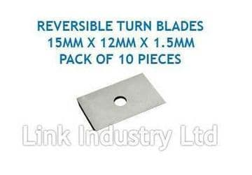 10 pces. 15 x 12 x 1.5mm CARBIDE REVERSIBLE TURN BLADES REVERSIBLE TIP KNIVES