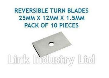 10 pces. 25 x 12 x 1.5mm CARBIDE REVERSIBLE TURN BLADES REVERSIBLE TIP KNIVES