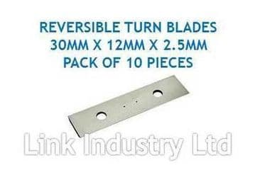10 pces. 30 x 12 x 2.5mm CARBIDE REVERSIBLE TURN BLADES REVERSIBLE TIP KNIVES