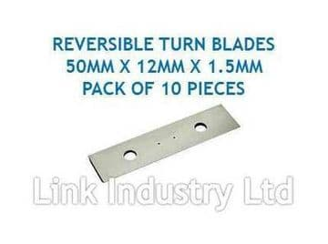 10 pces. 50 x 12 x 1.5mm CARBIDE REVERSIBLE TURN BLADES REVERSIBLE TIP KNIVES