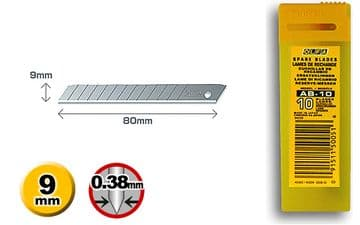 10 pieces of Olfa AB-10, 9mm Snap Off Blades, in protective tube with integrated disposal bin