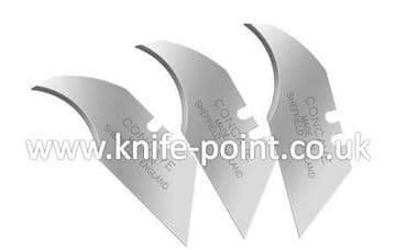 10 x Heavy Duty Concave Blades, 2 notch, cellophane wrapped, MADE IN SHEFFIELD