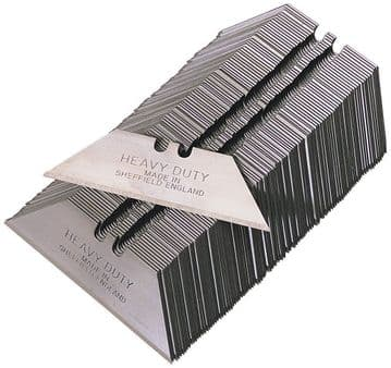 100 x Medium Duty Straight Blades, 2 notch, in paper tucks, MADE IN SHEFFIELD