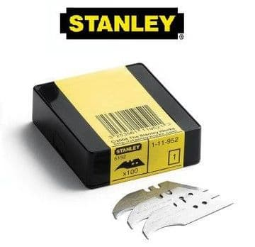 100 x Original Stanley 1-11-952, Heavy Duty Concave Blades, 2 notch, 2 hole, Stanley 5192