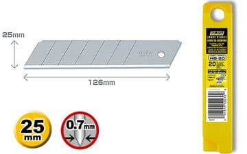 20 pieces of Olfa HB-20, 25mm Snap Off Blades in protective tubes