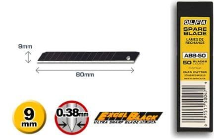 50 pieces of Olfa ABB Excel Black, 9mm Snap Off Blades, one pack of ABB-50 blades