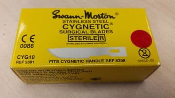 Cygnetic CYG10 No.10 scalpel blades, sterile stainless steel, in single peel packs - box of 50