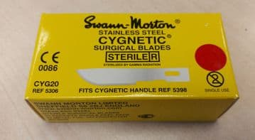 Cygnetic CYG20 No.20 scalpel blades, sterile stainless steel, in single peel packs - box of 50
