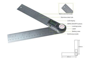 "GemRed Digital Angle Rule 200mm / 8"" Long, Stainless Steel"