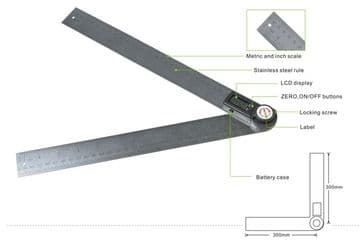 "GemRed Digital Angle Rule 280mm / 11"" Long, Stainless Steel"
