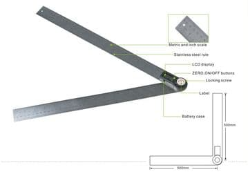 "GemRed Digital Angle Rule 480mm / 19"" Long, Stainless Steel"