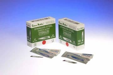 No.15C surgical scalpels, sterile stainless steel, in single peel packs - box of 100 blades