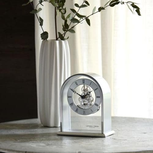 03127 Skeleton Clock Silver Coloured Curved Arch Top Metal And Glass Mantle London Clock Company