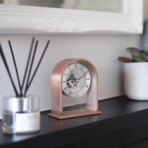 03183 Skeleton Clock Rose Gold Coloured Curved Arch Top Metal And Glass Mantle London Clock Company